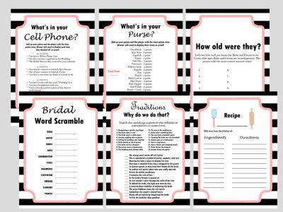 Modern Black & White Stripes Bridal Shower Games Activity, Modern Bridal Shower, Bridal Shower Game Prize, Unique Bridal Shower Games, bw02