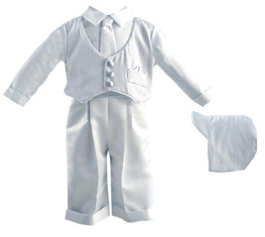 Amazon.com: Lauren Madison Baby boy Christening Baptism Infant Satin Vest Set with Pant: Clothing