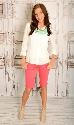 great site for knee length shorts - Coral Bermuda Shorts $23