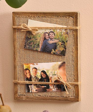 Burlap Photo Frame #zulilyfinds Super easy DIY. 7x9in. Holds 2 4x6 photos