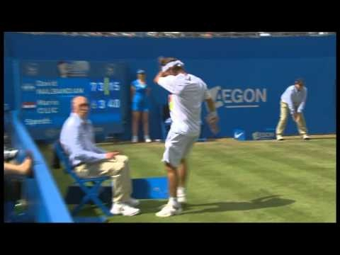 Who is more upset...the tournament director at his operations manager or the line umpire? David Nalbandian angrily kicks Linesman in Queens Final [17/6/12] - BBC One (ORIGINAL VIDEO)