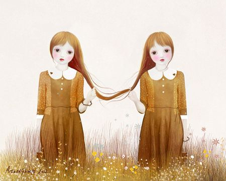 Friends Forever - by Art and Ghosts. Long hair tied together, two girls on meadow. Illustration.
