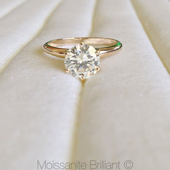 6.5mm Charles and Colvard 1 Carat Authentic Moissanite 14K Solid Yellow Gold 6 Prong Solitaire Ring