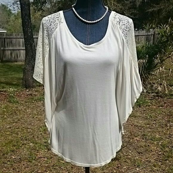Cream Batwing Top Cute cream / off white top with lace on bat wing sleeve Tops