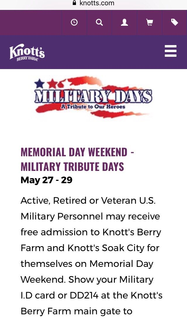 Knott's Berry Farm and #Knott's Soak City free admission for veterans, active, and reserve.  https://www.knotts.com/tickets-passes/promotions #viajway #knottsberry