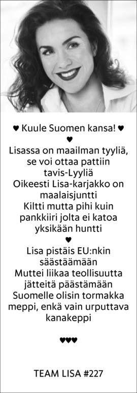Runollinen ehdokkaani Lisa Sounio-Ahtisaari
