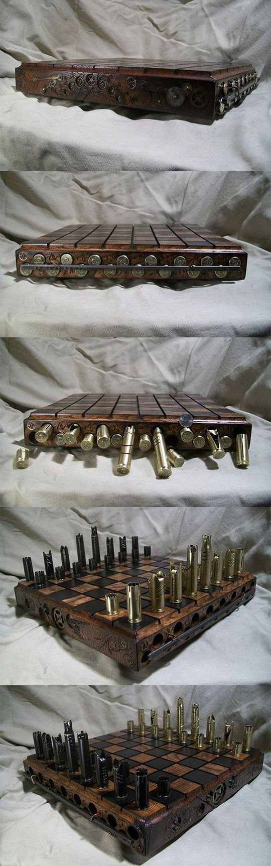Chess set made out of shell casings