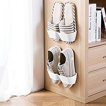 meoly set of 4pcs home shoe shelf plastic wall mounted shoes rack for entryway over the