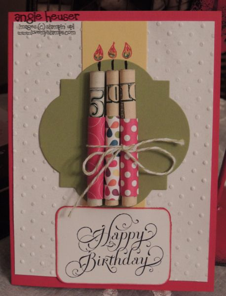 Money candles birthday card....this is fabulous!~T~ No instructions, but easy to make with stamps or stickers and some paper and twine to wrap and roll the money.