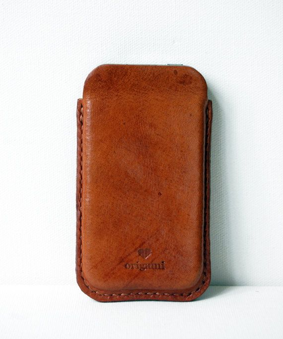 Handstitched Cognac Leather iPhone Sleeve by OrigamiLeather