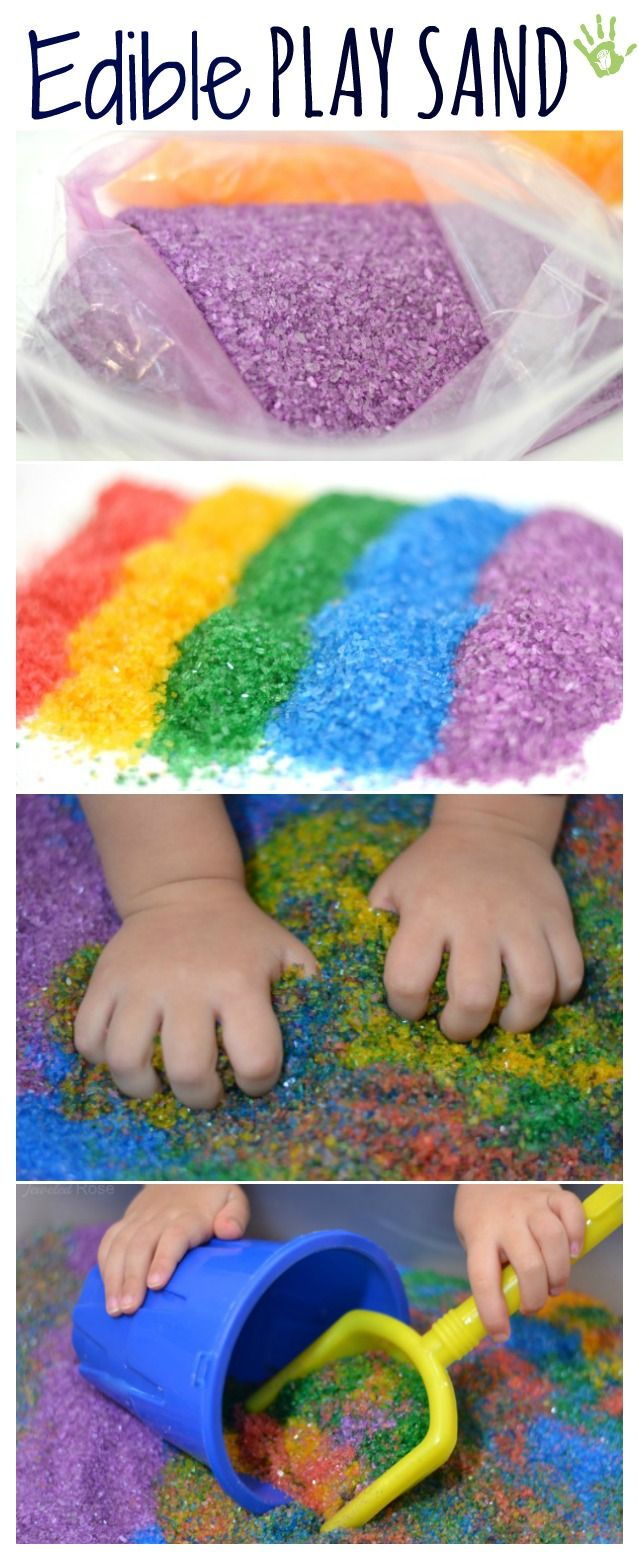 Make your own edible play sand in vibrant colors- this is a great sensory material for babies who are still in the mouthing stage.  While I doubt they will eat much it is nice to not have to worry if they sneak a taste.
