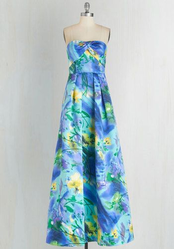 Portrait of Panache Dress - Floral, Print, Special Occasion, Prom, Wedding, Bridesmaid, Maxi, Long, Satin, Woven, Blue, Multi, Strapless, Spring, Summer