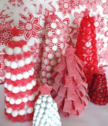 Candy theme christmas. Since these candies are glued and not edible, I would spray cone with glue spray and cover with red sugar sprinkles, then glue the candies on there. This way you can't see the white cone.