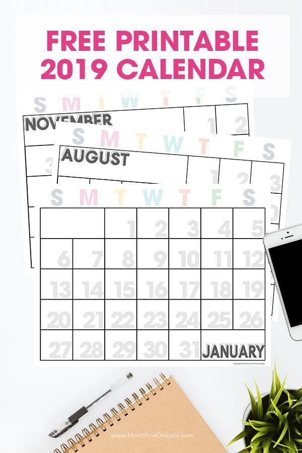 2019 Printable Calendar Printables ** Free printable calendar