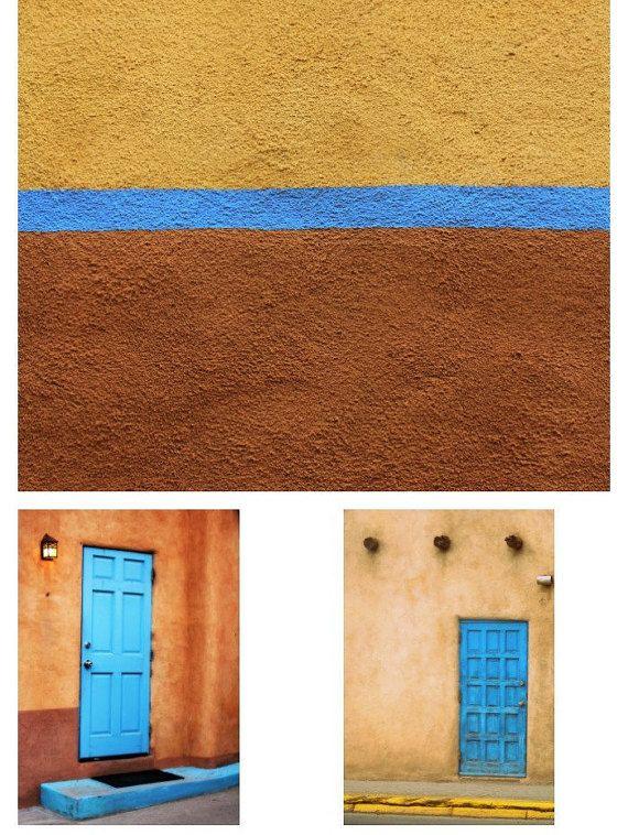 Southwestern Door Photography Set Blue Doors by PetiteWanderer