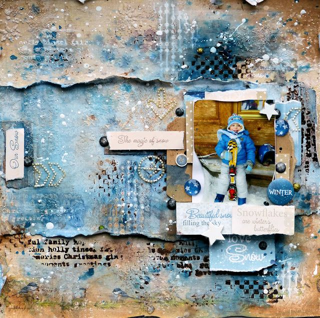 ScrapBerry's: Amazing mixed media lay-out by Aida Domisiewicz #scrapbook #mixed media #winter