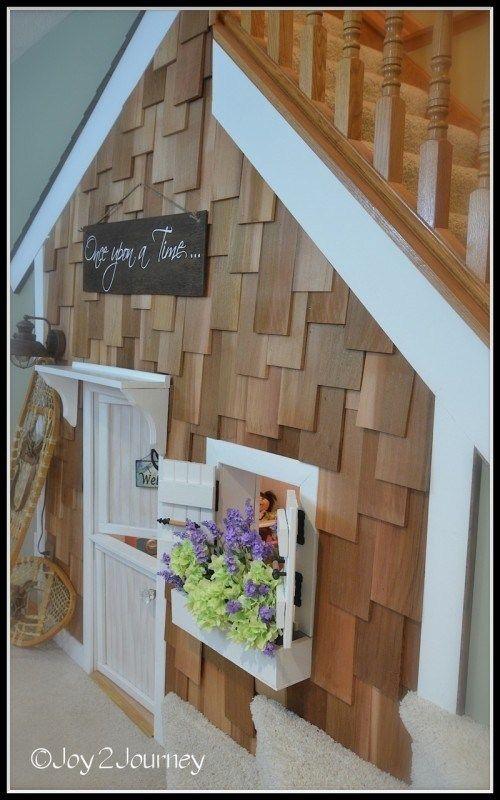 Best Under Stairs Playhouse With Cedar Shake Shingles Under Stairs Playhouse Play Houses Under Stairs 400 x 300