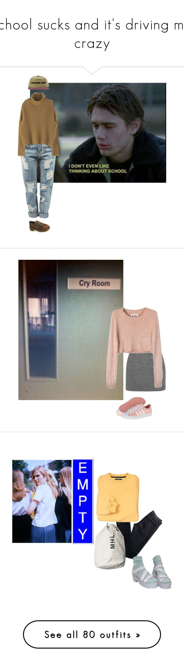 """""""school sucks and it's driving me crazy"""" by flowertattoo ❤ liked on Polyvore featuring school, tired, OneTeaspoon, Dr. Martens, T By Alexander Wang, For Love & Lemons, adidas Originals, Karl Lagerfeld, Pier 1 Imports and Rena Rowan"""