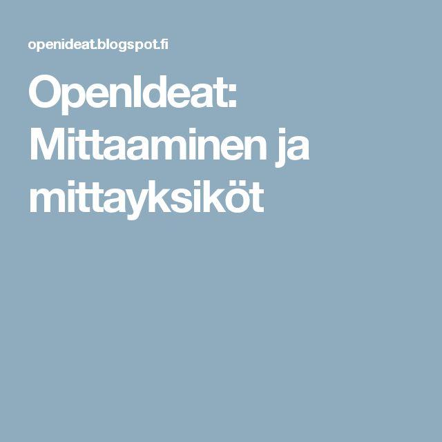 OpenIdeat: Mittaaminen ja mittayksiköt
