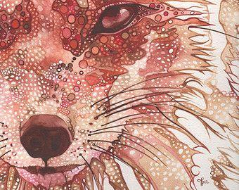Moho Fox 5 x 7 impresión de obras de arte de Pintura acuarela detallada en surrealista naranja oxidado rojo vibrante color pintado con peque...