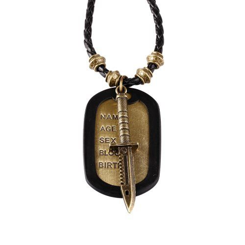 BodyJ4You® Dog Tag Necklace Mens Chain with Vintage Sword Army Name Dog Tag Necklace