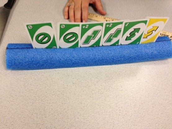 great idea, I am sooooo doing this one - pool noodle as a card holder..brilliant