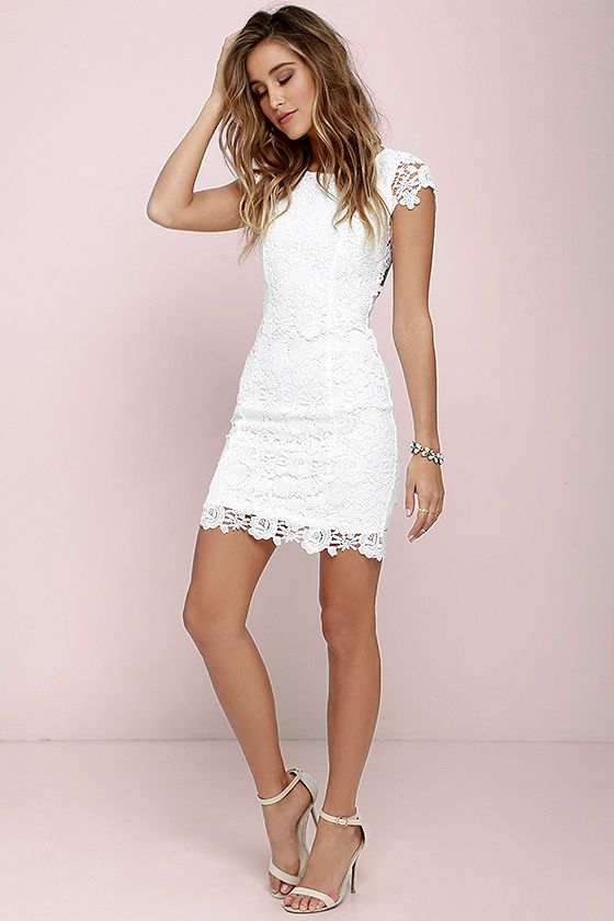 White Floral Hollow-out Bodycon Hip Short Package Crochet Sleeveless Cute  Casual Homecoming Lace Summer Dress  fa404f33af62