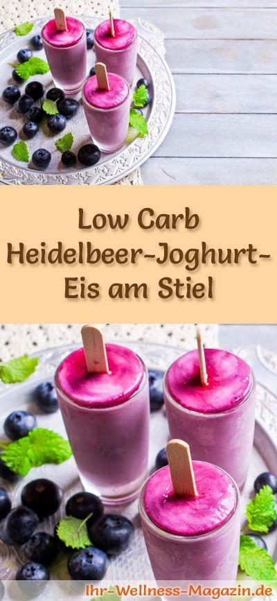 Rezept für Low Carb Heidelbeer-Joghurt-Eis am Stiel - ein einfaches Eisrezept für kalorienreduzierte, kohlenhydratarme und gesunde Eiscreme ohne Zusatz von Zucker ...