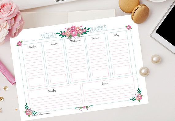Keep Calm and Stay Organised with a range Weekly Planner Printables in a pretty floral design (A4)