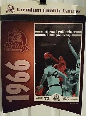 1966 NCAA Basketball Championship Texas Western Kentucky Cat Felt Banner Pennant