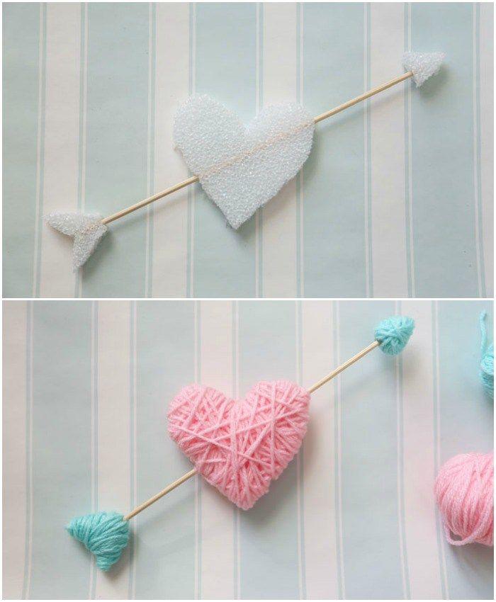 Wrap styrofoam hearts in yarn for a kid friendly Valentine's Day craft. NO GLUE, NO MESS!