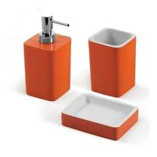 Beautiful Orange Bathroom Accessories. Hmmm Never Thought Of This Color For A Bathroom,  Kinda Like