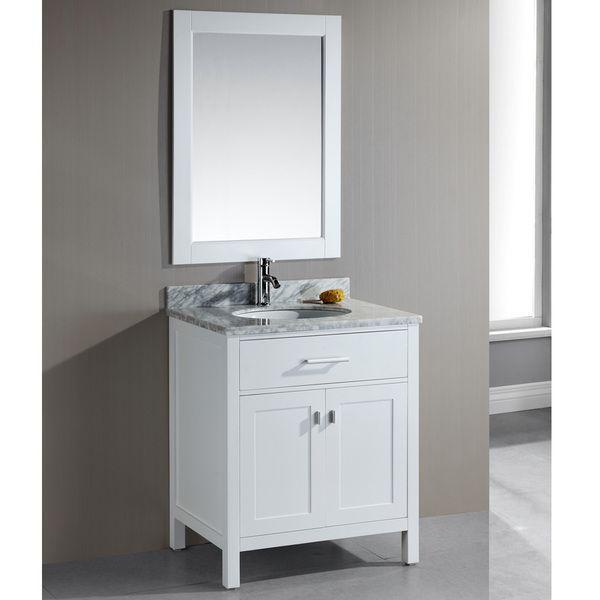 Design Element London 30 Inch Single Sink White Bathroom Vanity Set By  Design Element
