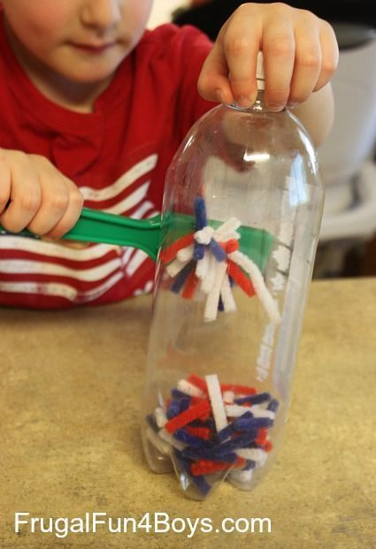 Create a discovery bottle with pipe cleaners and a plastic soda bottle then add a magnet wand for hours of fun.