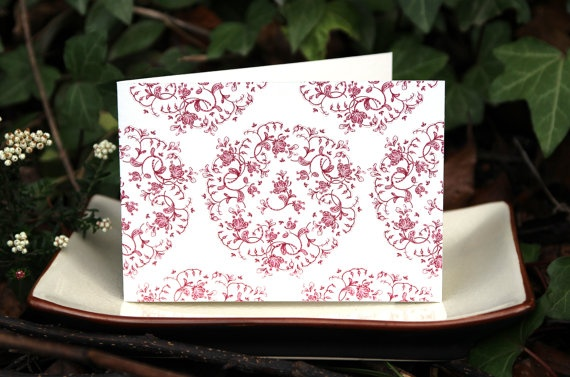 Red And White Art Card 'Olivier Red' on Bamboo Paper by naturewrap, $6.00