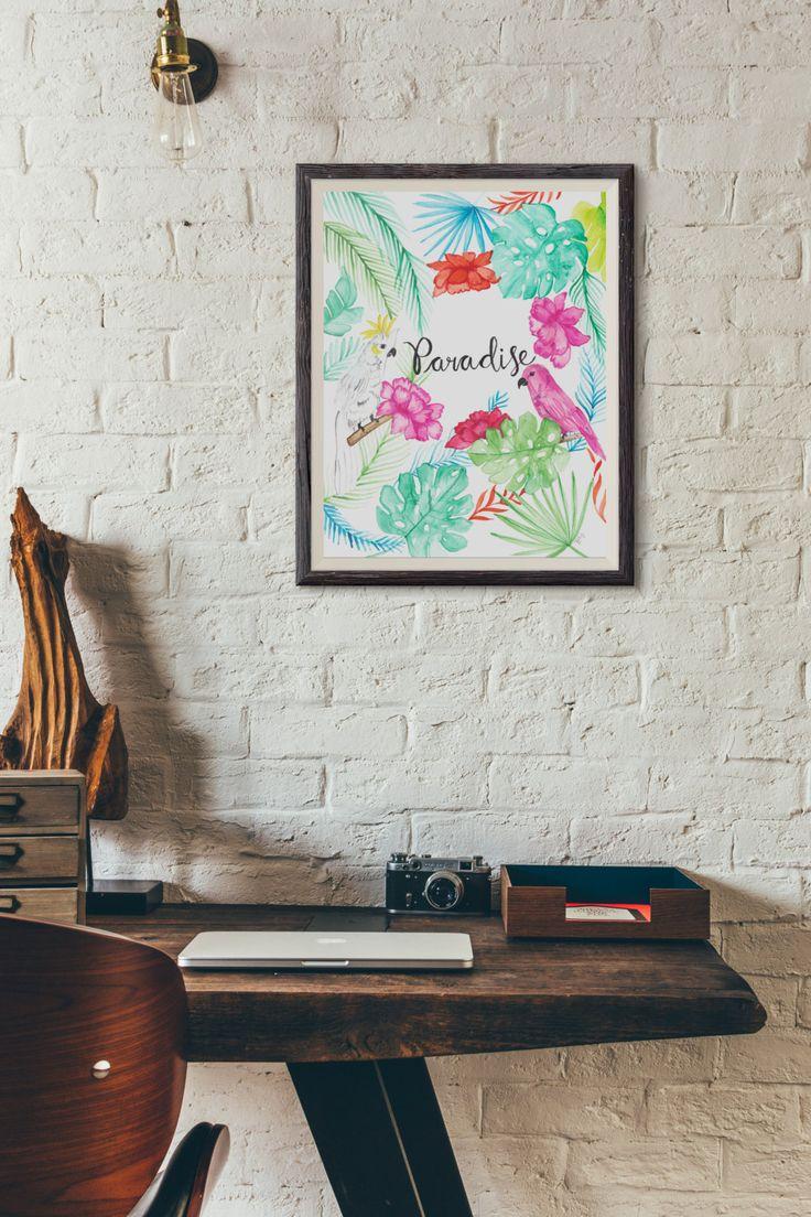 Watercolour Tropical Painting   Tropical Paradise Birds Painting   Home Decor   Summer Wall Art   Coastal Art   Original Painting by ThreadedbyPooja on Etsy