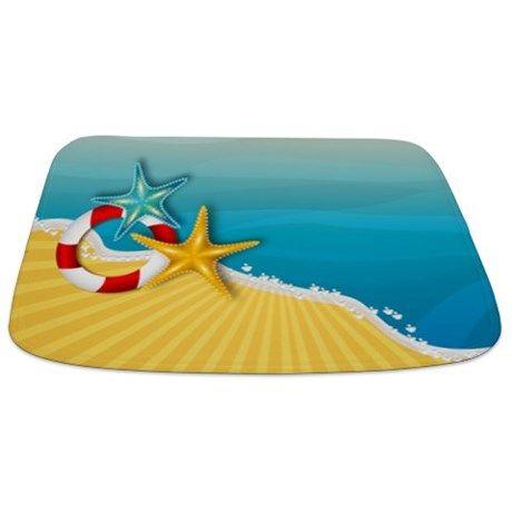 Beautiful starfish tropical beach Bathmat on CafePress.com