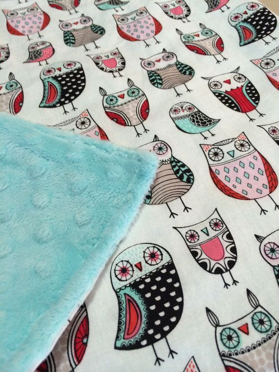 Owl baby blanket tiffany blue minky blanket modern door DwellDarling