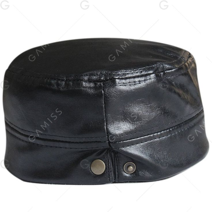 Outdoor Button Embellished PU Leather Adjustable Military Hat - BLACK