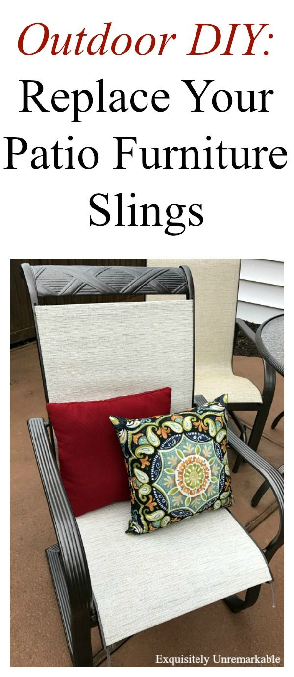 Update your outdoor furniture set by replacing the fabric slings on your patio chairs with this easy DIY. Check out the steps and quick tips.