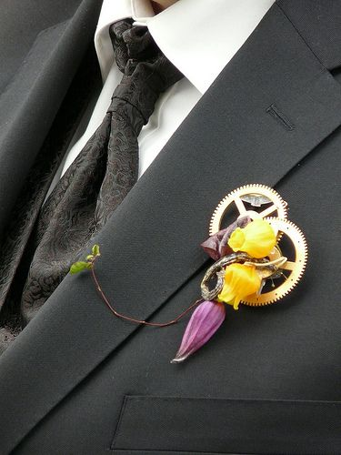 Bad-ass boutonnieres | Offbeat Bride - awesome idea, maybe spark plugs or some type of small car part included in boutonnières