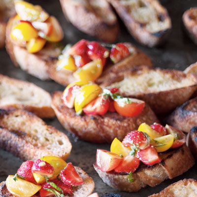 Lovely for a BBQ: Bruschetta with Strawberries and Tomatoes #recipe by @Delish #vegan