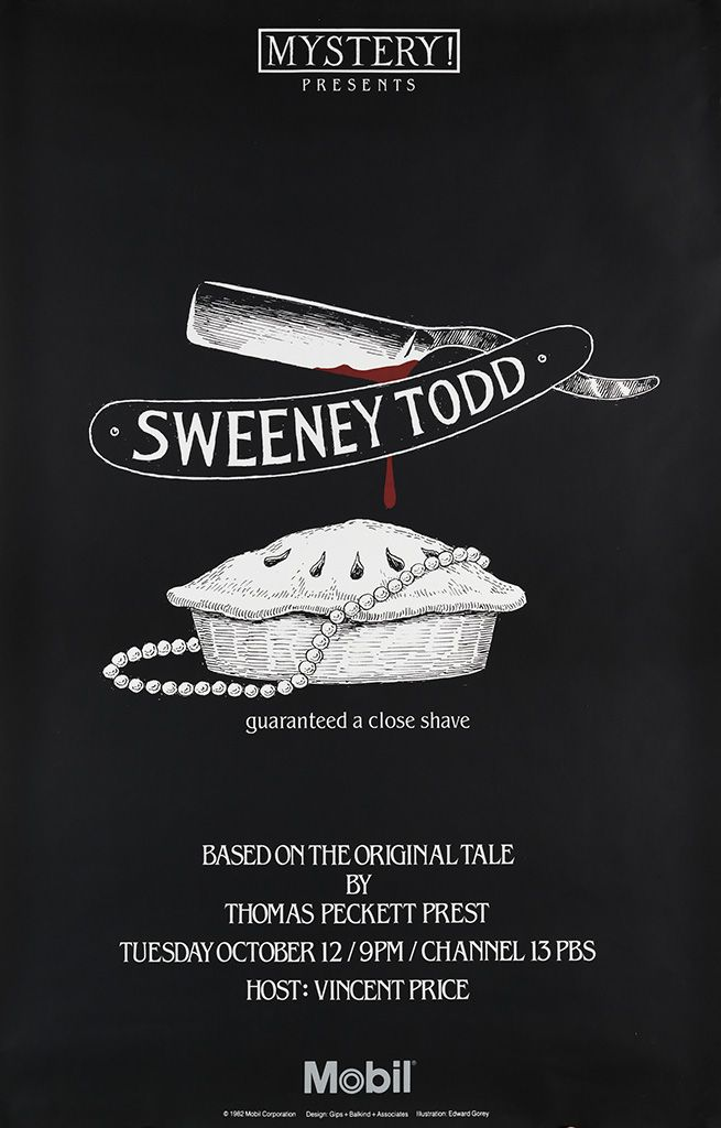 PBS Mystery!  poster for mini series  * Sweeney Todd. 1982