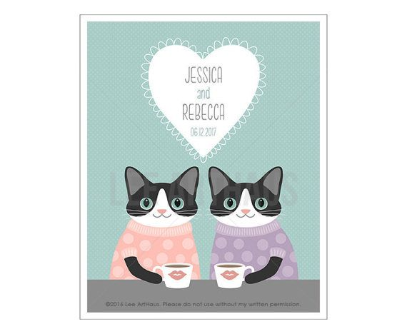 233P Cat Print - Cat Couple Wall Art - Lesbian Wedding Gift - Friendship Gift - Anniversary Gift - Mrs and Mrs - Cat Print - Couple Gift