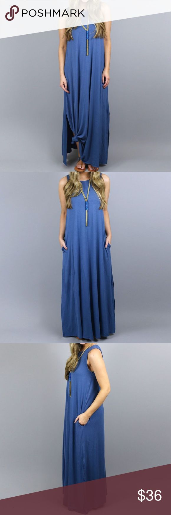 "Azure Blue Pocketed Tank Maxi Dress Casual, a-line, sleeveless tank style, o-neck, floor length, right side slit, two pockets, cotton / spandex maxi dress.   Size 5XL/20  Bust: 47.25"" Length: 55"" Dresses Maxi"
