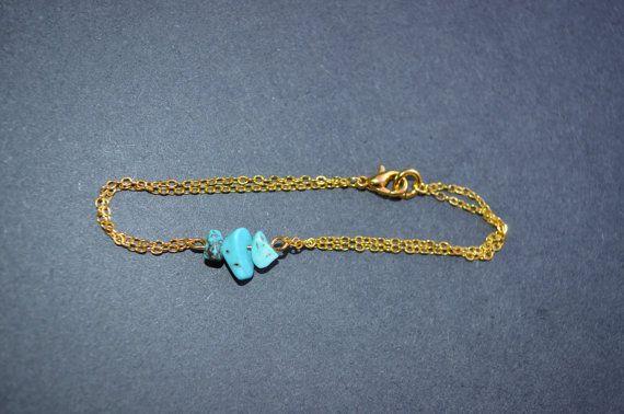 Turquoise Bracelet Dainty Gold Chain Bracelet by IndigoLizard