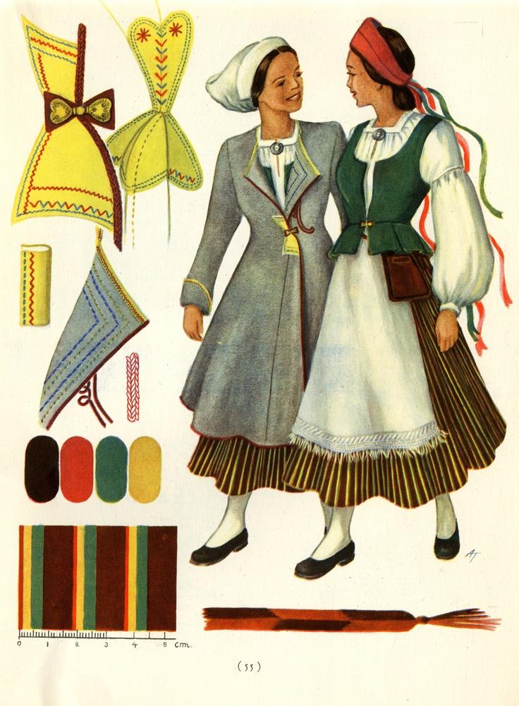 Kurkijoki women's dresses  taken from Suomalaisia Kansallispukuja [Finnish National Costumes] by Tyyni Vahter, illustrations by Greta Strandberg and Alli Touri