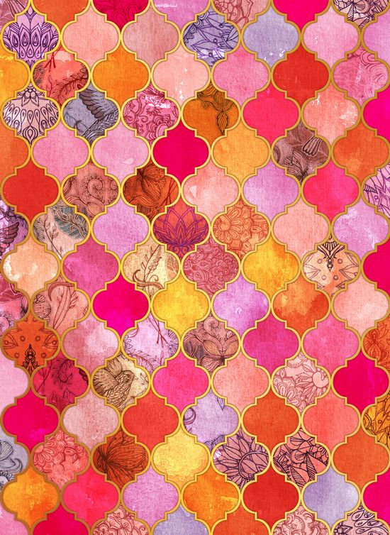 Couleurs chaudes | Motifs | Hot Pink, Gold, Tangerine & Taupe Decorative Moroccan Tile Pattern Art Print