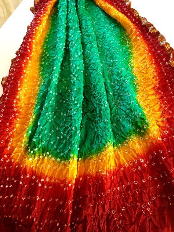 Rajasthani Silk Bandhani Dupatta Indian Long by PureIndianArt