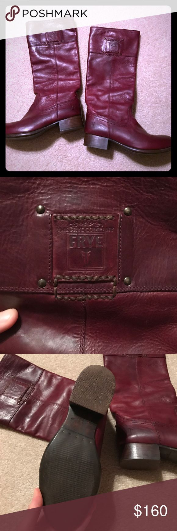 Size 5.5 burgundy frye boots Size 5.5 burgundy leather frye riding boots. Gently worn. Great condition. Embossed Amelia boot, purchased in 2013, worn 4 times. Frye Shoes Ankle Boots & Booties